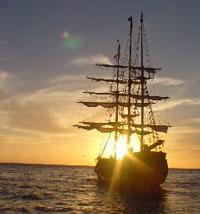 Buccaneer Queen Pirate Adventure At Dusk Cabo San Lucas - Pirate ship booze cruise